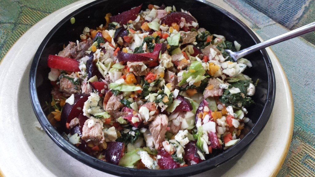 Plums, Raw Cabbage, Carrots, Steamed Spinach, Prime Rib, Blue Cheese