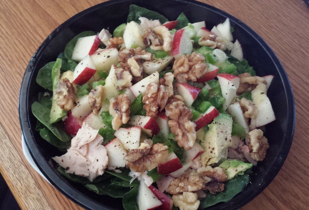 Apple, Walnuts, Tuna, Avocado, and Scallion on a Bed of Baby Spinach