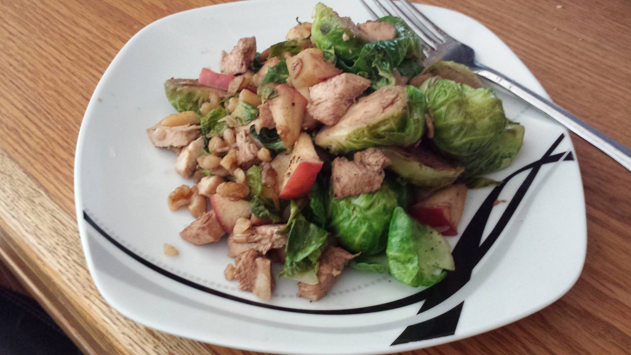 Brussels Sprouts, Apples, Walnuts, Cajun Chicken, Garlic, Balsamic Vinegar