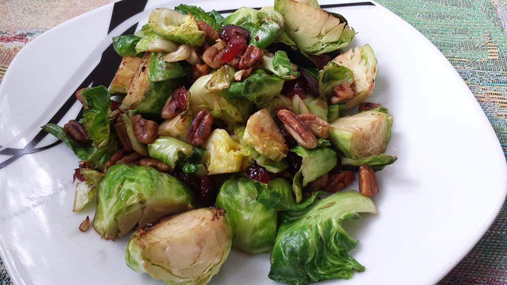 Brussels Sprouts, Pecans, Cranberries, Garlic, Balsamic Vinegar