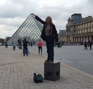 "Me ""touching"" the Louvre Pyramid"